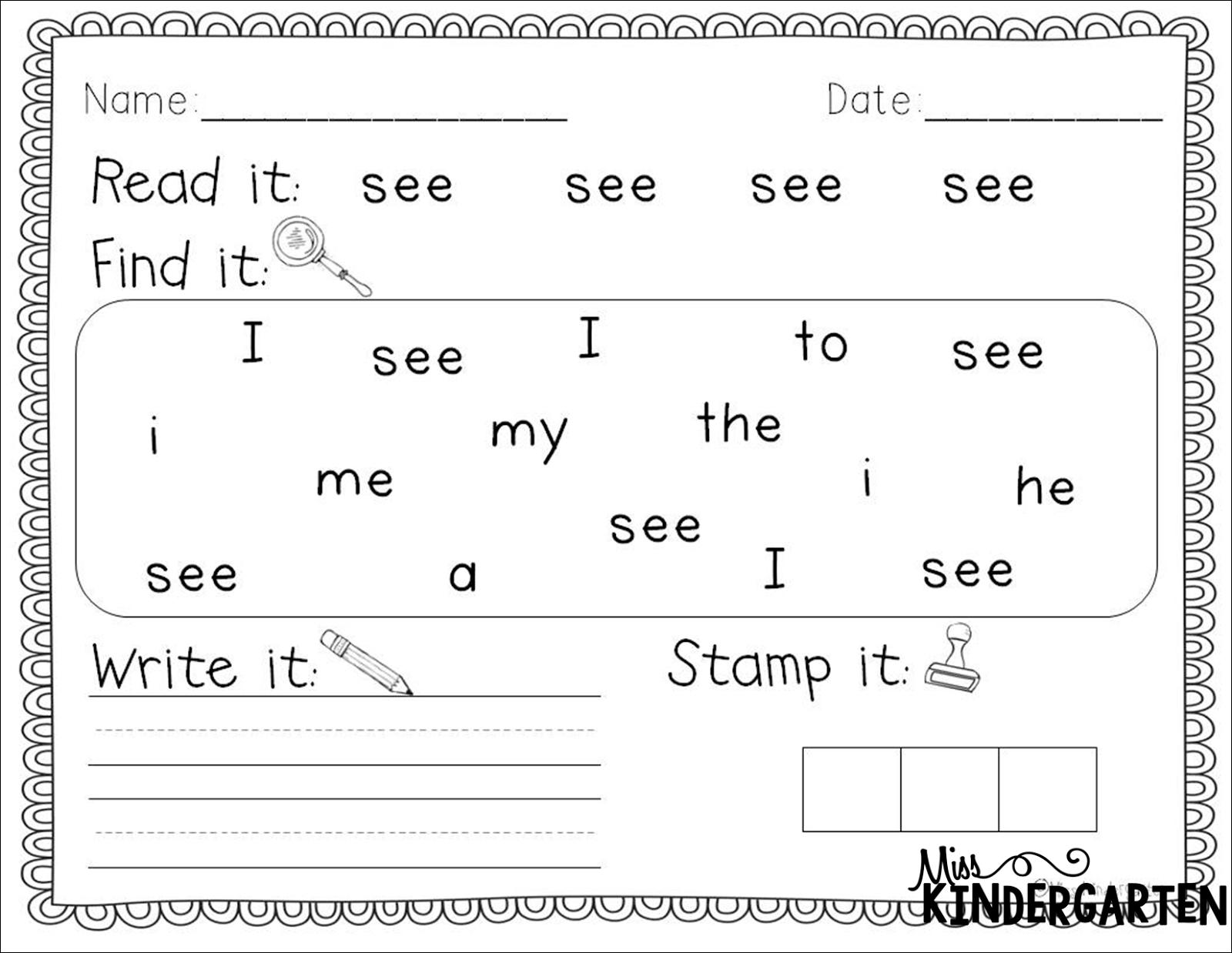 Free Printable Worksheets For Kindergarten Sight Words