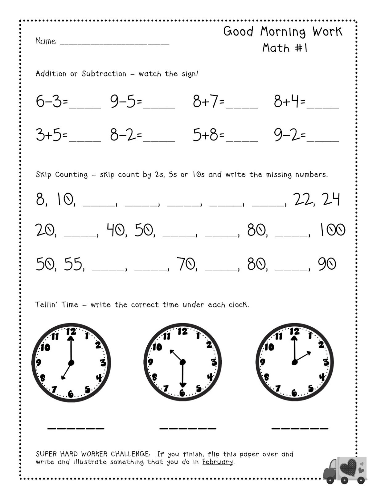 Free Tester Good Morning Work Pages For Firsties Common Core Math