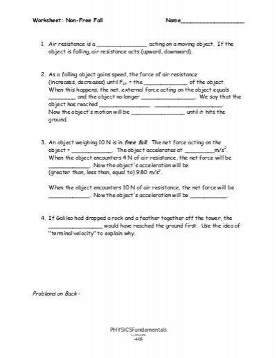 Freefall Worksheet