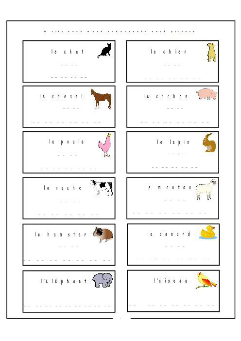 French Animal Worksheets