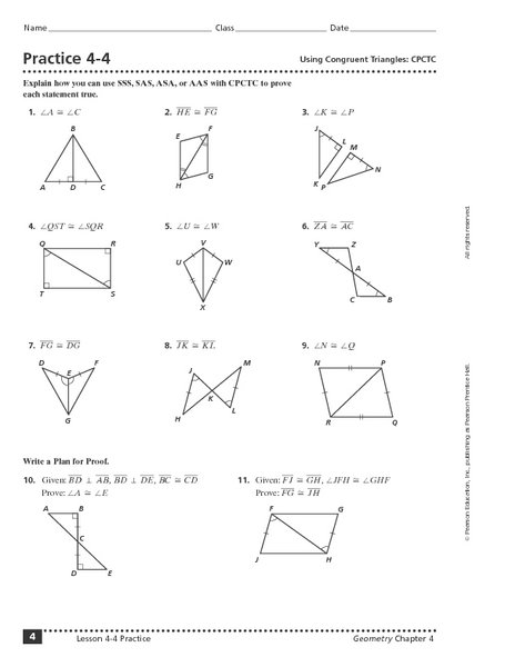 Geometry Worksheet Congruent Triangles Answer Sheet
