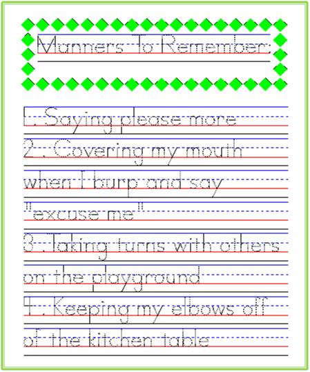 Good Manners To Remember – Free Worksheets Samples