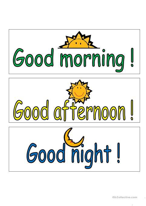Good Morning, Good Afternoon, Good Night Worksheet