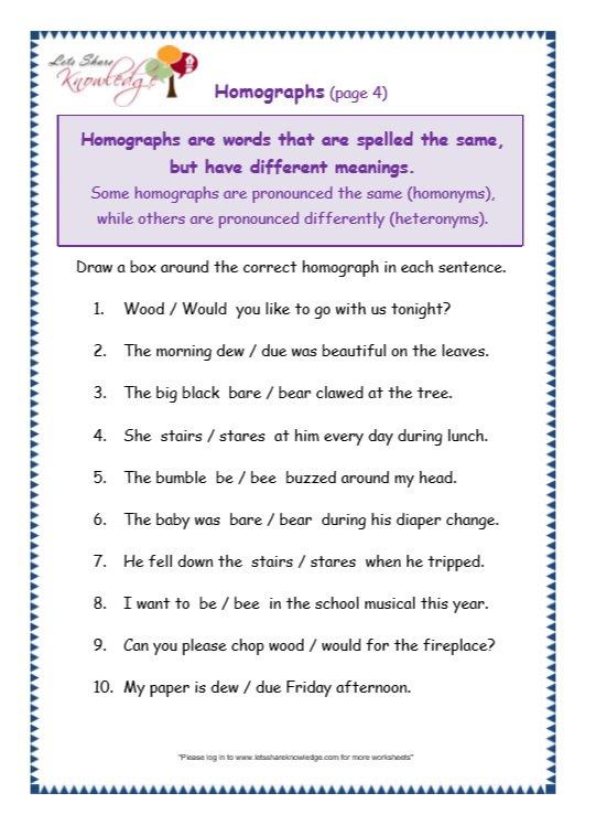 Grade 3 Grammar Topic 25  Homographs Worksheets