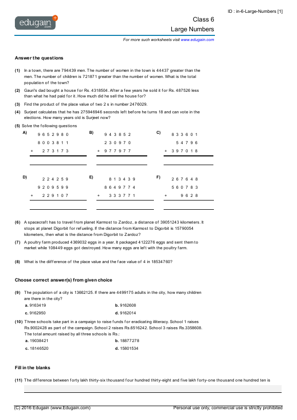 Grade 6 Math Worksheets And Problems  Large Numbers