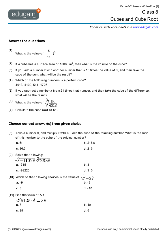 Grade 8 Math Worksheets And Problems  Cubes And Cube Root