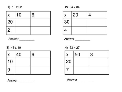 Grid Method Multiplication Worksheets Worksheet 500375 Box