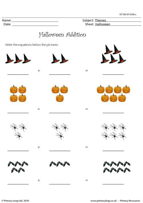 Halloween Addition Worksheet Halloween Addition Primaryleapcouk