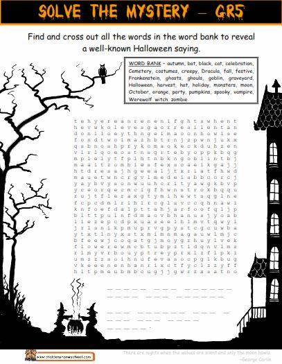 Halloween Worksheets For Middle School 214 Free Halloween