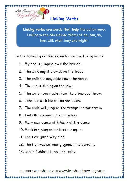 Helping Verbs Worksheet 4th Grade Worksheets For All