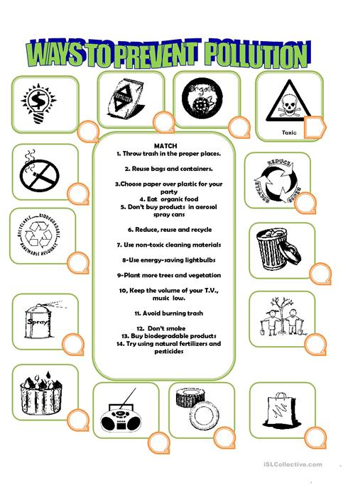 How To Prevent Pollution Worksheet