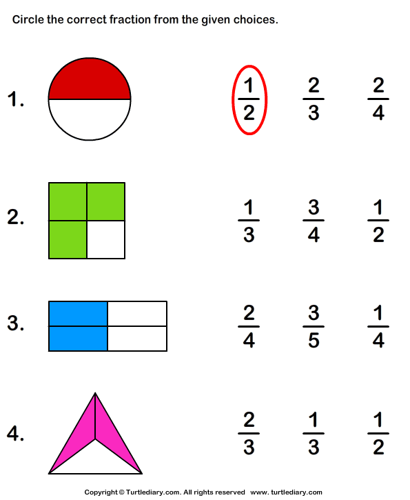 Identify Fraction Represented By Shaded Part Worksheet