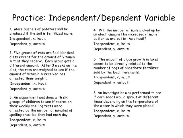 Identifying Independent And Dependent Variables Math Worksheet