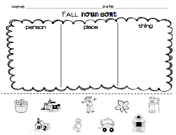 Kindergarten Noun Worksheets