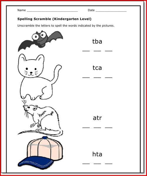 Kindergarten Spelling Worksheets Free Printables Worksheets For