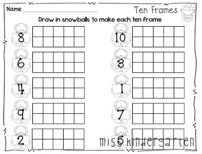 Kindergarten Worksheets Using Ten Frames