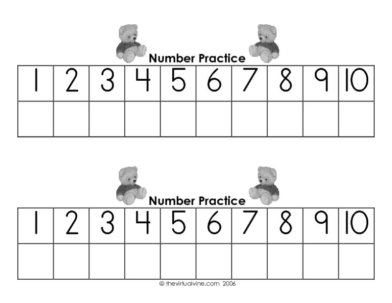 Learning To Write Numbers 1 10 Worksheet