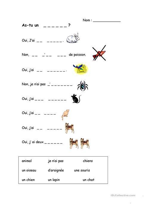 Les Animaux Worksheet