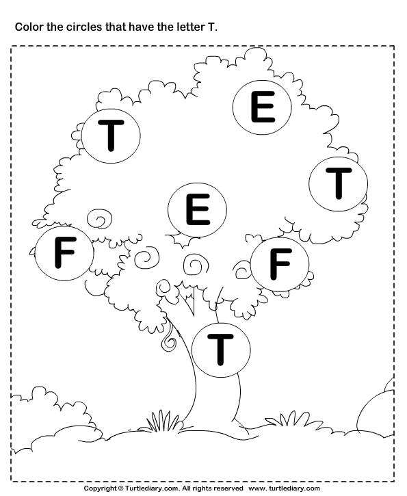 Letter T Worksheets Identifying Letter T Worksheet Turtle Diary