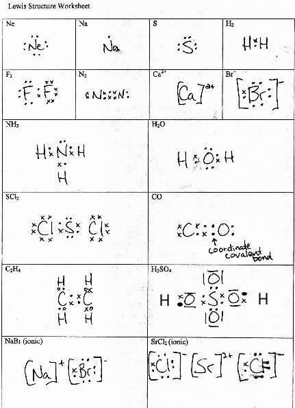 Lewis Dot Structure Worksheet With Answers Lewis Dot Structure