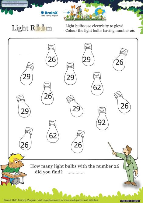 Light Room Math Worksheet For Kindergarten