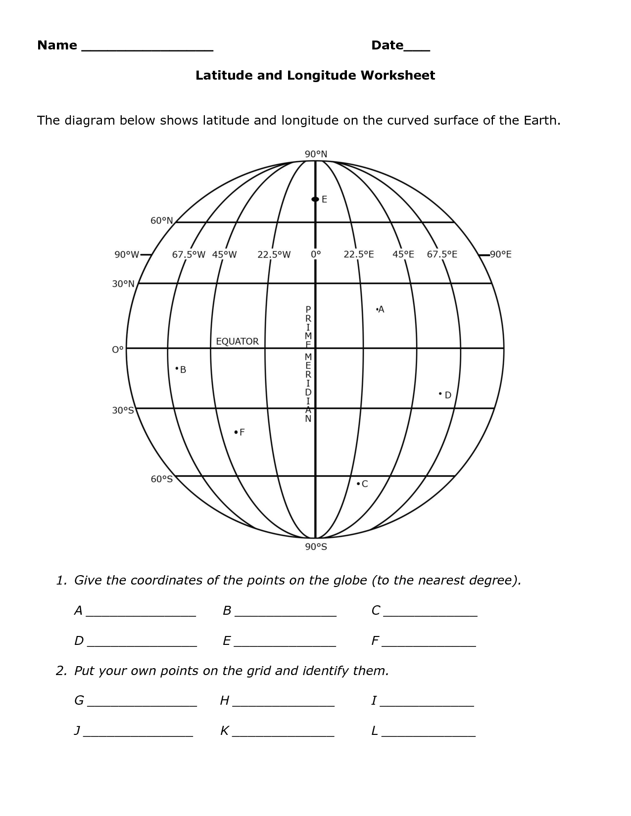 Lines Of Latitude And Longitude Worksheets The Best Worksheets