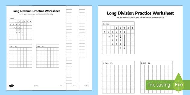 Long Division Practice Worksheet