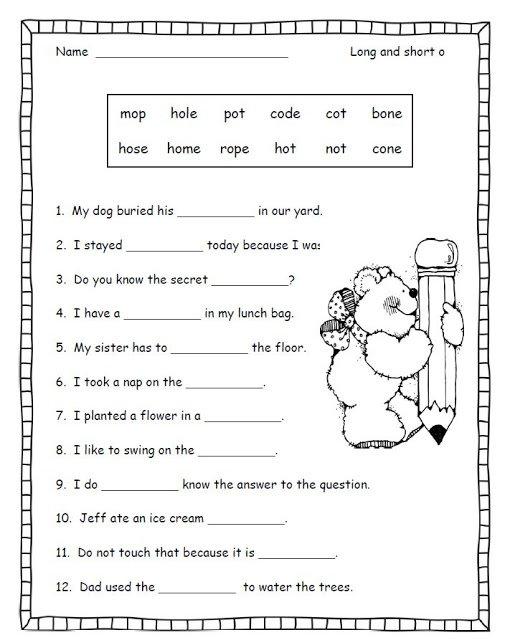 Long Vowel Worksheets For 2nd Grade