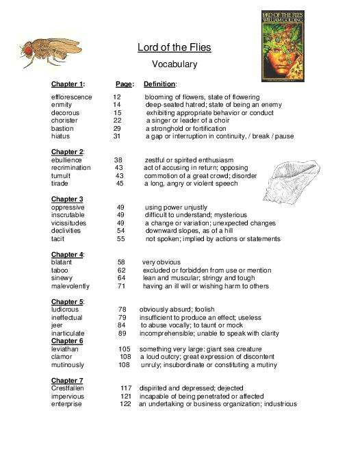 Lord Of The Flies Vocabulary Worksheet Worksheets For All