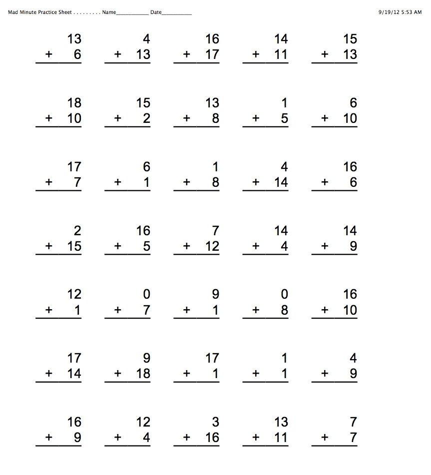 Mad Minute Multiplication Worksheets Fresh Generous Mad Minute