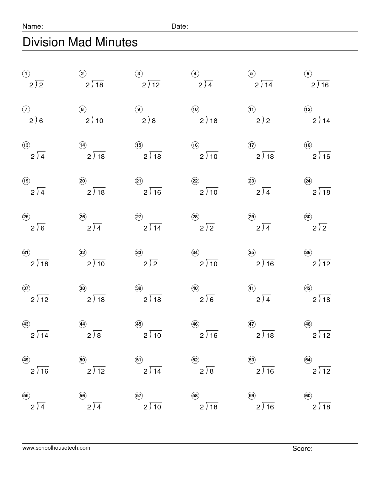 Mad Minutes Multiplication Worksheets Printable Math Pinterest