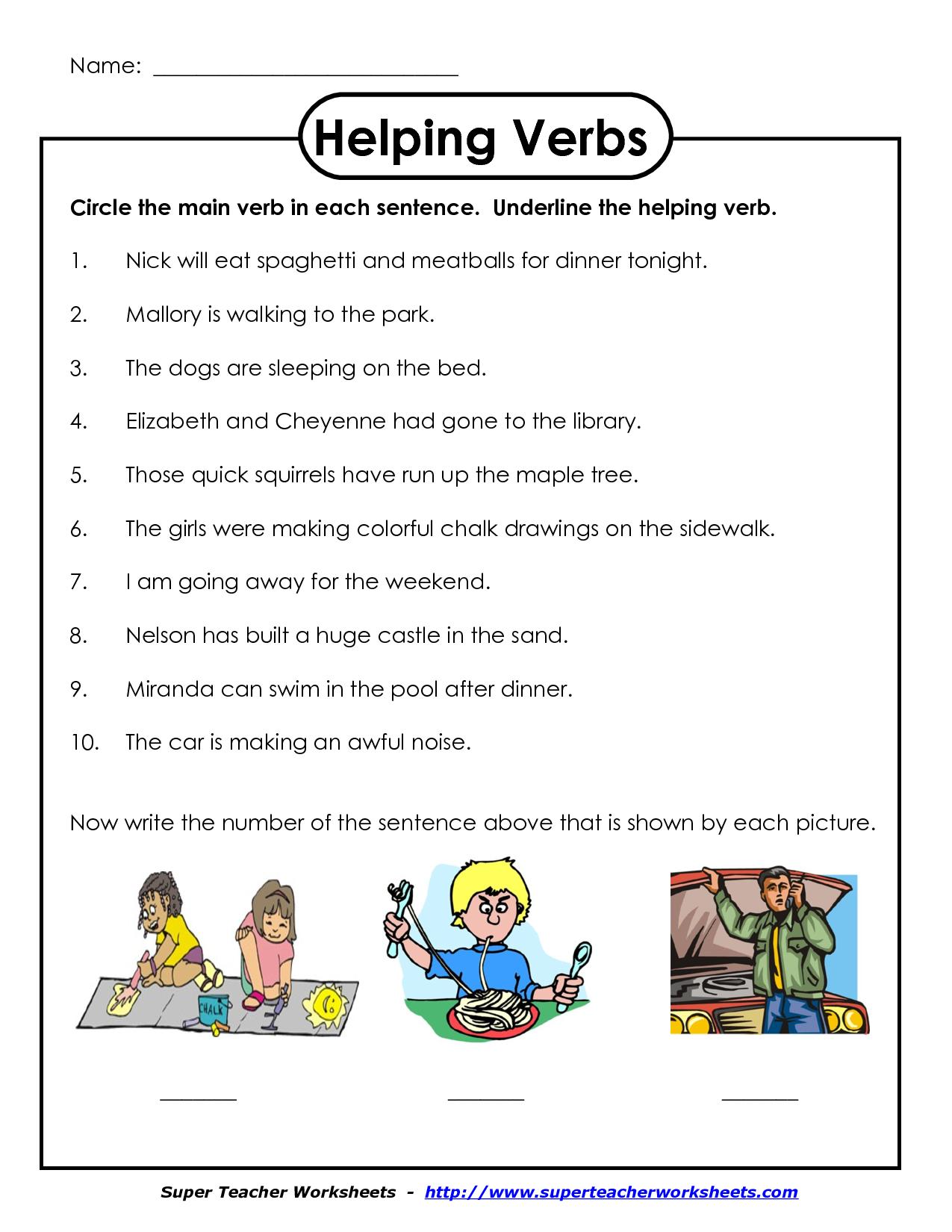 Main Helping Verbs Png Worksheet