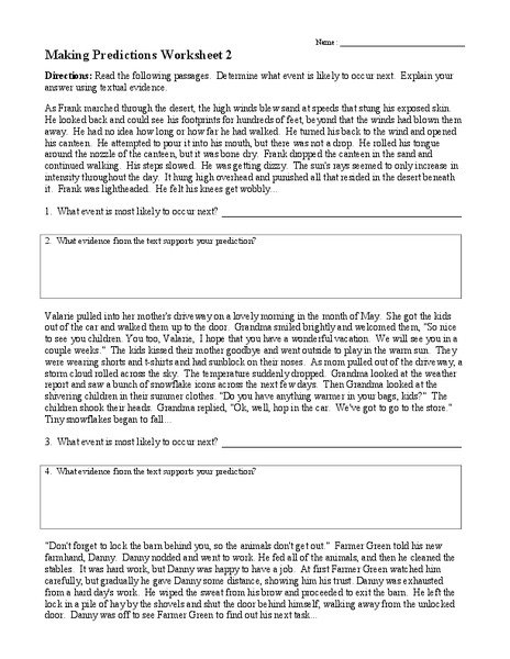 Making Predictions Worksheets 3rd Grade Worksheets For All