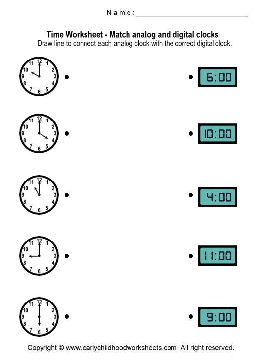 Match Digital And Analogue Times Worksheets