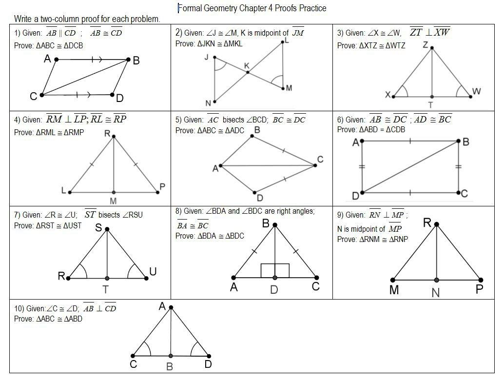 Matching Congruent Triangles Worksheet