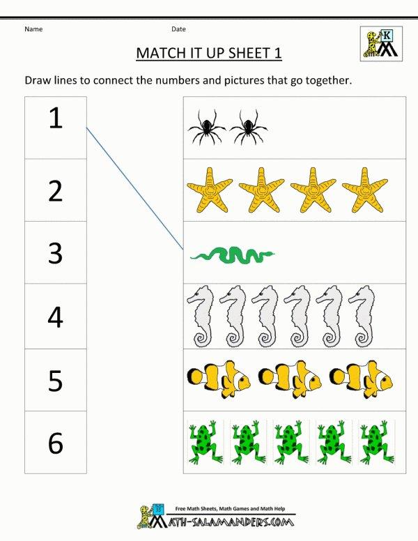 Math Matching Worksheets For Preschoolers Printables Kindergarten