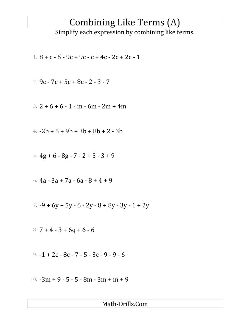 Math Worksheets And Subtract Linear Expressions Worksheet