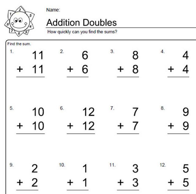 Math Worksheets Grade 1 Adding Doubles