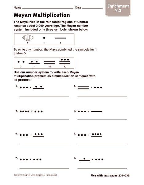 Mayan Math Worksheet Answers