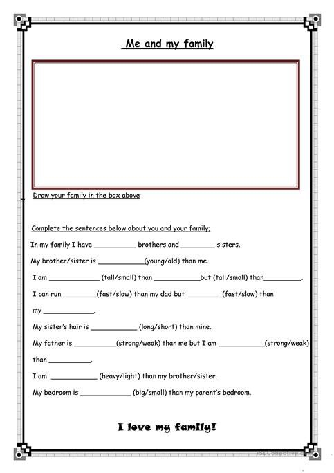 Me And My Family Worksheet