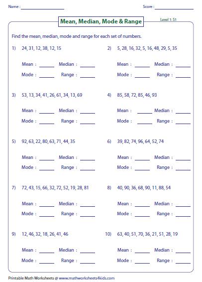 Mean Median Mode Range Worksheets Mean Median Mode And Range