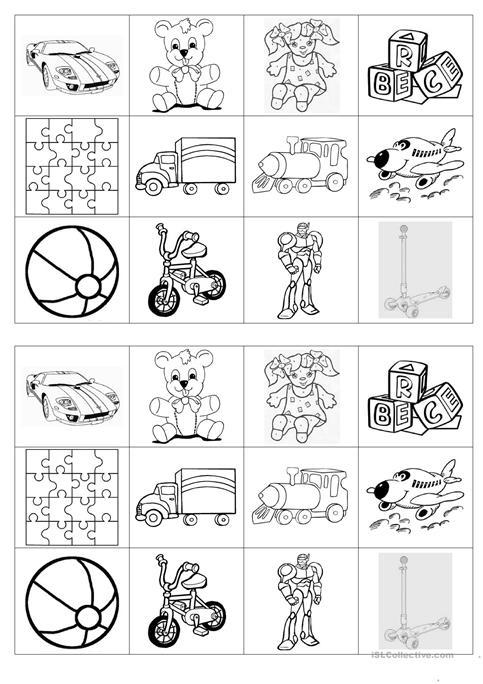 Memory Game On Toys Worksheet