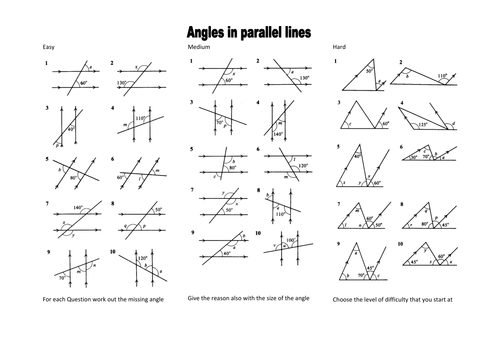 Mesmerizing Missing Angles Worksheets Tes In Angles In Parallel