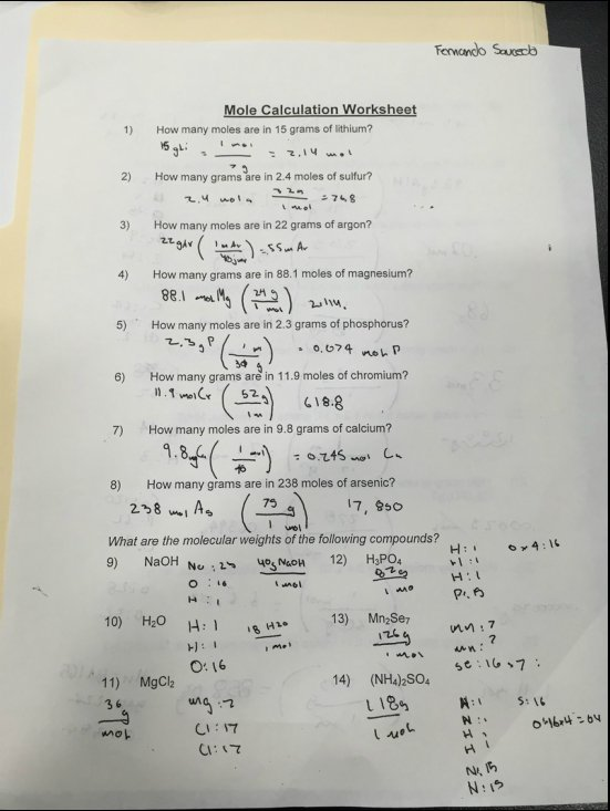 Moles Calculations Worksheet Worksheets For All