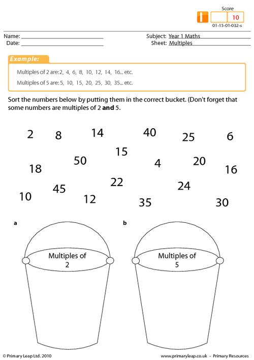 Multiples Primaryleapcouk Multiples Of 2 5 And 10 Worksheets