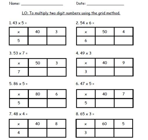 Multiplication Grid Method Worksheet Way To Multiplication Azim