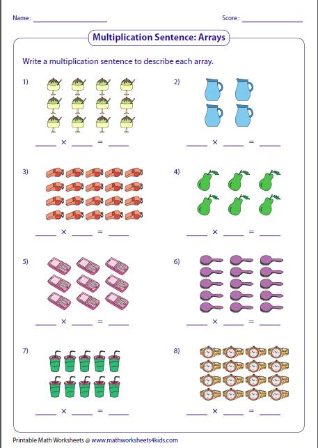 Multiplication Models Worksheets Multiplication With Arrays
