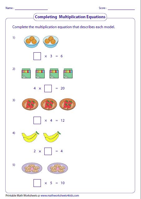 Multiplication Sentence Worksheets Multiplication Models