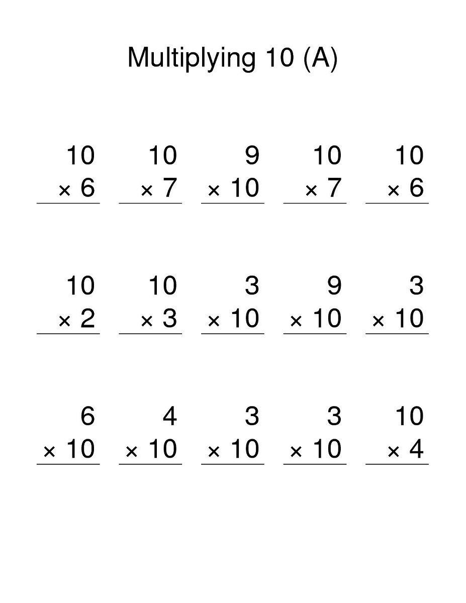 Multiplying By 10 Worksheets The Best Worksheets Image Collection