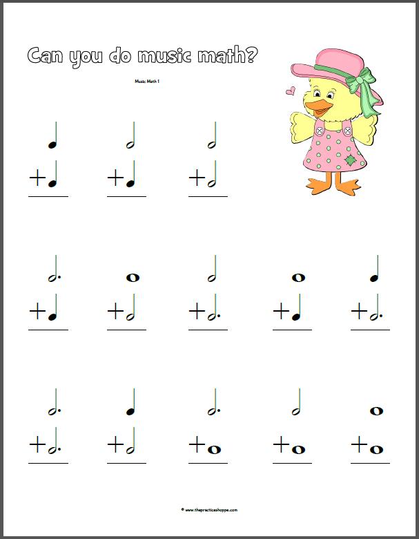 Music Math Worksheets Delibertad